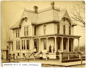 Earliest known photo of the Lewis House, c.1879 John, Augusta, Lizzie and Maids in foreground